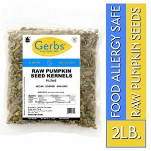 Raw Pumpkin Seed Kernels, 2 LBS by Gerbs - Top 14 Food Allergy Free & NON GMO - Vegan, Keto Safe & Kosher - Premium Quality