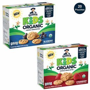 Quaker Kids Organic Multigrain Bites, Variety Pack, 20 Pouches, USDA Certified Organic