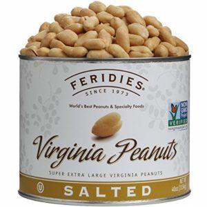 FERIDIES Salted Super Extra Large Virginia Peanuts - 40oz Tin, NonGMO, OU Kosher, Cholesterol Free