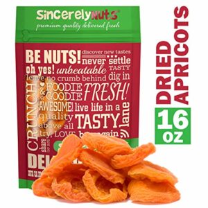 Sincerely Nuts - Dried Jumbo California Apricots | One Lb. Bag | Healthy Pitted Apricot Fruit | Raw Vegan Snack | Dehydrated | Sweet Gourmet Snacking Food | Kosher and Gluten Free