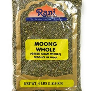 Rani Moong Whole (Ideal for cooking & sprouting, Whole Mung Beans with skin) Lentils Indian 4lbs (64oz) ~ All Natural | NON-GMO | Vegan | Indian Origin