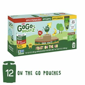 GoGo squeeZ Applesauce on the Go, Variety Pack (Apple Apple/Apple Banana/Apple Strawberry), 3.2 Ounce (12 Pouches), Gluten Free, Vegan Friendly, Healthy Snacks, Unsweetened, Reusable, BPA Free Pouches