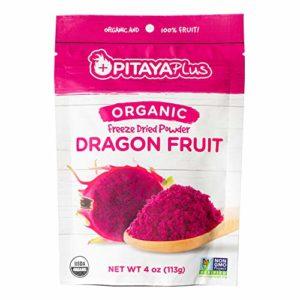 Pitaya Plus Freeze Dried Red Dragon Fruit Powder Organic. 4 Ounces of 100% Dragon Fruit for the Brightest Pink Rceipes. USDA and Oregon Tilth Organic, Non-GMO, Earth Kosher, Vegan Verified, B-Corp.