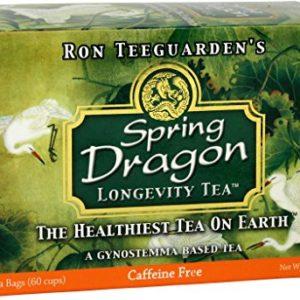 Dragon Herbs Spring Dragon Longevity Tea - 20 Tea Bags - 60 Cups - Made with Premium Gynostemma - All Natural, Vegan, Non-GMO, Caffine Free, Premium Grade, Jiao Gu LAN