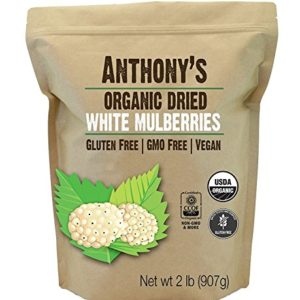 Anthony's Organic White Mulberries, 2lbs, Sun Dried, Non GMO & Gluten Free