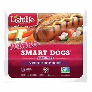Lightlife Jumbo Smart Dogs Meatless Veggie Hot Dogs, 13.5 oz (2 Pack, 10 Hot dogs Total)