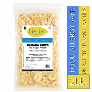 Gerbs Banana Chips Unsweetened, 2 LBS - Unsulfured & Preservative Free - Top 14 Allergy Friendly & NON GMO - Product of Philippines
