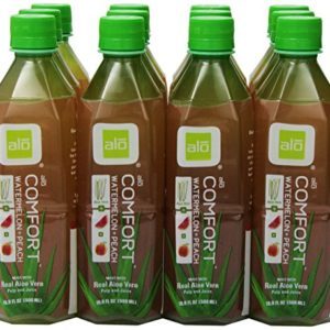 ALO Comfort Aloe Vera Juice Drink, Watermelon Plus Peach, 16.9 Fl. Oz (Pack of 12), Cane-Sugar Sweetened, Aloin-Free, No Artificial Flavors Preservatives or Colors, Gluten Free, Vegan