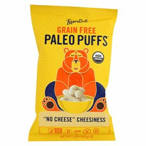 LESSER EVIL, PALEO PUFFS, OG2, NO CHEESE, Pack of 9, Size 5 OZ - No Artificial Ingredients Gluten Free Low Sodium Vegan Wheat Free Yeast Free 95%+ Organic