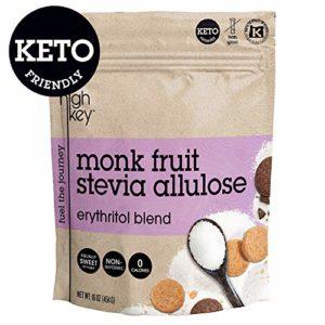 HighKey Monk Fruit Stevia Erythritol & Allulose Sweetener Blend - Keto, Diabetic & Paleo Friendly - Granulated Low Calorie Natural Sugar Substitute - Gluten Free, Non GMO, Vegan, Kosher - 1LB / 16oz