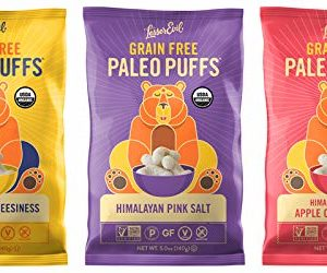 LESSER EVIL, PALEO PUFFS, Variety Pack of 3, 5 oz Bags - No Artificial Ingredients, Gluten Free, Low Sodium, Vegan, Wheat Free, Yeast Free, 95%+ Organic