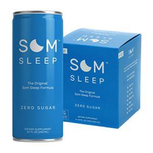 Som Sleep, The Original Sleep Support Formula w/ Melatonin, Magnesium, Vitamin B6, L-Theanine & GABA - Non-GMO, Vegan, Gluten-Free Sleep Aid Drink Supplement - Zero Sugar, 8.1 Fl Oz, 4-Pack