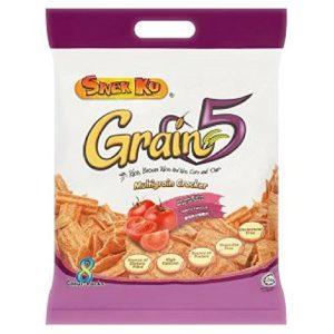 Snek Ku Grain 5 Multigrain Cracker 8 Packs x 16g (628MART) (Tomato Flavour, 3 Count)