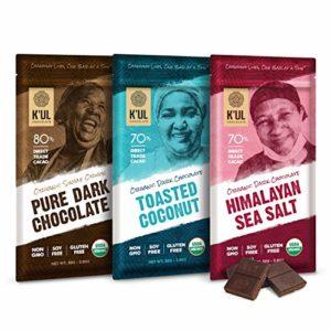 K'UL CHOCOLATE Bars   3 Pack Dark Chocolate   Sea Salt   Coconut   Pure Dark   Organic Vegan, Gluten Free, Non Gmo, Direct Trade Dark Chocolate   2.8oz Each   Formerly BIJA Chocolates