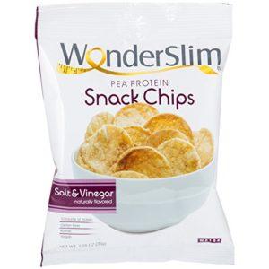 WonderSlim Pea Protein Snack Chips (12g) - Salt & Vinegar - Low-Carb Diet Healthy Protein Snack - Gluten-Free, Vegan (10 Bags)