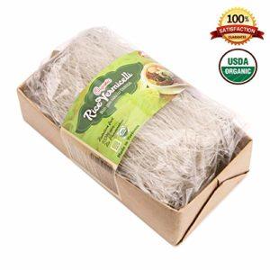 Tanisa ORGANIC White Rice Vermicelli Noodles USDA Certified - gluten free (7 Oz/pack) (Vietnamese Bun)
