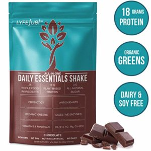 LYFE FUEL Meal Replacement Shake | Keto, Vegan & Gluten Free Plant Based Protein + Organic Superfood Greens | Chocolate | 18g Rice + Pea Protein | 14 Meals