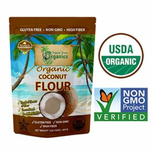 Organic Coconut Flour by Tropical Green Organics, Low Carb, High Fiber, Non-GMO and Gluten-Free, Vegan & Dairy-free, 1 Pound Paleo, Keto Diet Flour for Cooking & Baking