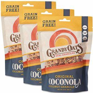GrandyOats Grain Free Granola | Original Coconola | Certified Organic, Gluten Free, Paleo, Dairy Free, Low Sugar, Low Carb, & Kosher | 9oz bags (Pack of 3)