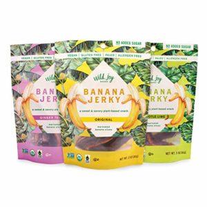 Wild Joy Goods Banana Jerky Organic Vegan Jerky, Paleo, No Added Sugar, Gluten Free Plant- Based Snack - Variety Flavor, 3 oz bags (3 Pack)