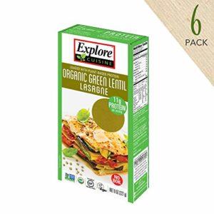 Explore Cuisine Organic Green Lentil Lasagne (6 Pack) - 8 oz - High Protein, Gluten Free Pasta, Easy to Make - USDA Certified Organic, Vegan, Kosher, Non GMO - 24 Total Servings
