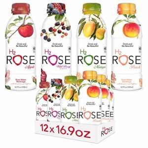 H2rOse - Rose Water Beverage with the Power of Saffron - Healthy Alternative to Sodas & Sports Drinks - All Natural, Gluten Free, Non-GMO, Vegan w/ Added Benefits - 16.9 Oz, 12 Pack (Variety Pack)