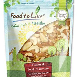 Mixed Raw Nuts by Food to Live (Cashews, Brazil Nuts, Walnuts, Almonds), Unsalted, Bulk - 1 Pound