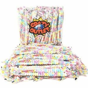 CrazyOutlet Pack - Smarties Candy Necklaces, Gluten-Free, Fruit Flavor, Pastel Color Hard Candy Accessories, Individually Wrapped, 40 Count, 2 Lbs