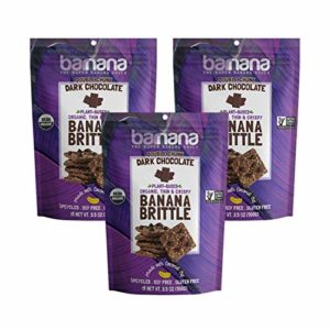 Barnana Organic Crunchy Banana Brittle - Double Chunk Dark Chocolate, 3.5 Ounce (3 Count) - Healthy Vegan Cookie Style Dessert Snack - Made with Sustainable, Eco Friendly Upcycled Bananas