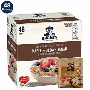 Quaker Instant Oatmeal, Maple & Brown Sugar, 1.51oz Packets (48 Pack)