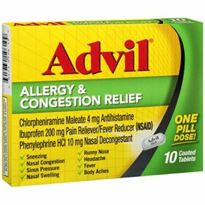 Advil Allergy & Congestion Relief, Antihistamine, 200mg Ibuprofen Pain Reliever/Fever Reducer & Nasal Decongestant, One Tablet Dose, 10 Count