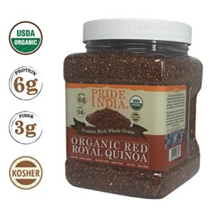Pride Of India - Organic Red Royal Quinoa - 100% Bolivian Superior Grade Protein Rich Whole Grain, 1.5 Pound (24oz) Jar