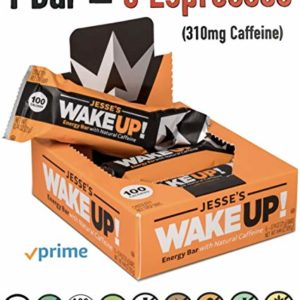 Jesse's WakeUP Nutrition Energy Bars: Gluten Free Snack Bars 310mg of Natural Caffeine to Boost Energy, Mental Clarity and Alertness - 100 Calorie Vegan Dark Chocolate and Rice Crisp Power Bar: 6 Pack