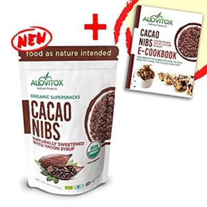 Organic Cacao Nibs with Pure Yacon Syrup by Alovitox | Decadent Low Calorie Cocoa Chocolate Protein - Zero Sugar & Gluten Free | Paleo, Keto & Vegan Diet Sweetener | 45 Servings | FREE Recipe Book