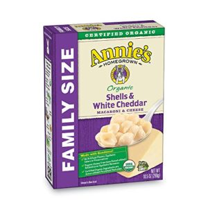 Annie's Organic Family Size Shells & White Cheddar Macaroni & Cheese, 6 Boxes, 10.5oz (Pack of 6)
