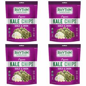 Rhythm Superfoods Kale Chips, Garlic & Onion, Organic and Non-GMO, 2 Oz (Pack of 4), Vegan/Gluten-Free Superfood Snacks