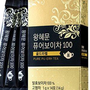 [Dr. MOON] Dr. Wang Hye Moon`s Pure Pu-erh Tea 100 Gold Label (1g x 14 packets) - 100% Pure Pu-erh Tea from Yunnan Province, 1300-Days Fermented, High Antioxidant, Natural Metabolism Booster