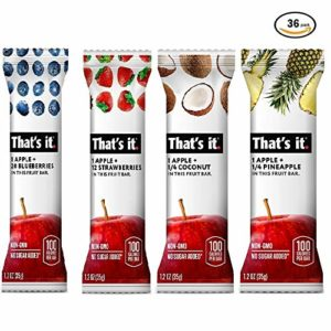 That's it. Variety Pack-2, 100% Natural Real Fruit Bar, Best High Fiber Vegan, Gluten Free Healthy Snack, Paleo for Children & Adults, Non GMO No Added Sugar, No Preservatives Energy Food (36 Pack)
