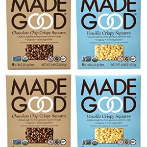 Made Good Organic Crispy Squares Variety Pack of 4 - Vanilla and Chocolate Chip Crispy Squares - Tree-Nut and Peanut-Free, Gluten-Free, Vegan, Kosher (12 Squares Per Flavor)