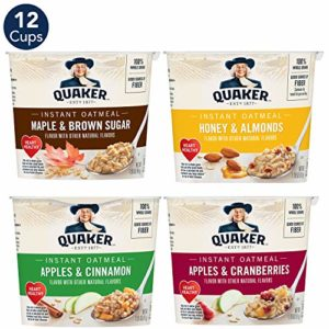 Quaker Instant Oatmeal Cups, 4 Flavor Variety Pack (12 Cups)