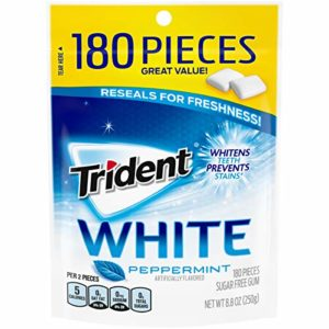 Trident White Sugar Free Gum, Peppermint, 180 Count (packaging may vary)