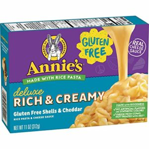 Annie's Homegrown Gluten Free Creamy Deluxe Rice Pasta & Extrs Creamy Cheddar Sauce Macaroni & Cheese, 12 Boxes, 11oz (Pack of 12)