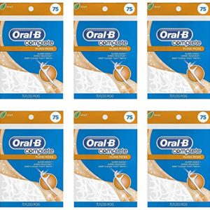 Oral-B Complete Mint Flavored Floss Picks, 75 Count, 6 Pack, 450 Picks Total