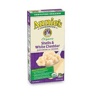Annie's Organic Macaroni and Cheese, Shells & White Cheddar Mac and Cheese, 6 oz Box (Pack of 12)