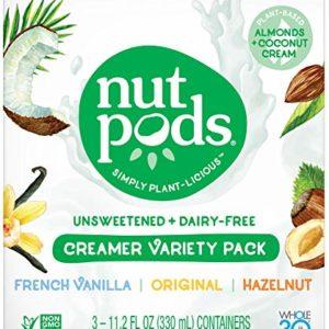 nutpods Unsweetened Dairy-Free Liquid Coffee Creamer Variety Pack (3-pack)