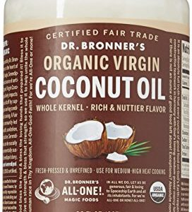 Dr. Bronner's - Organic Virgin Coconut Oil (Whole Kernel, 30 Ounce) - Coconut Oil for Cooking, Baking, Hair and Body, Unrefined and Fresh-Pressed, Rich and Nutty Flavor, Fair Trade, Vegan, Non-GMO