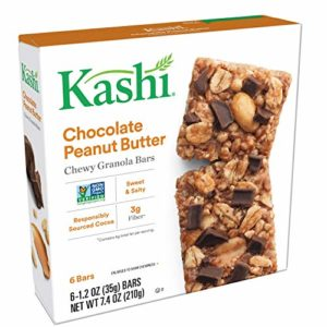 Kashi,Chewy Granola Bars, Chocolate Peanut Butter, Vegan,Non-GMO Project Verified, 7.4 oz (6 Count)