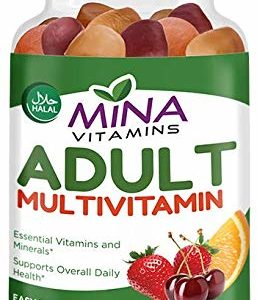 Halal Gummy Adult Multivitamins by Mina Vitamins - 11 Essential Vitamins and Minerals with Antioxidants - Vegetarian, Non-GMO, Gluten Free (90 Count)
