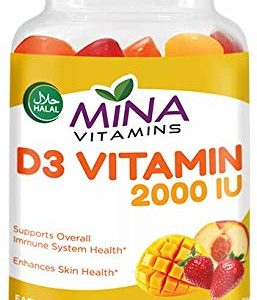 Halal D3 Gummy Vitamin – 2000 IU - Natural Fruit Mango & Peach – Vegetarian, Non-GMO, Gluten Free (90 Count)