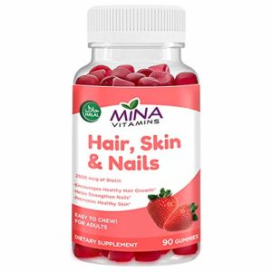 Mina Vitamins Hair Gummy Vitamins – Boosted with Biotin for Stronger, Thicker, Fuller & Longer Hair - Halal, Vegetarian, Non-GMO, Gluten Free (90 Count)